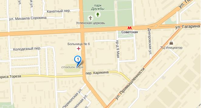 Карта - стадион Заря