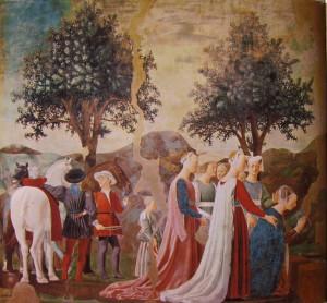 Piero della Francesca Царица Савская преклоняет колени перед Животворящим Древом, фреска